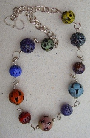 Enameled Bead and Sterling Necklace